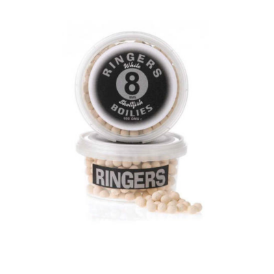 RINGERS WHITE SHELLFISH BOILIES 8MM